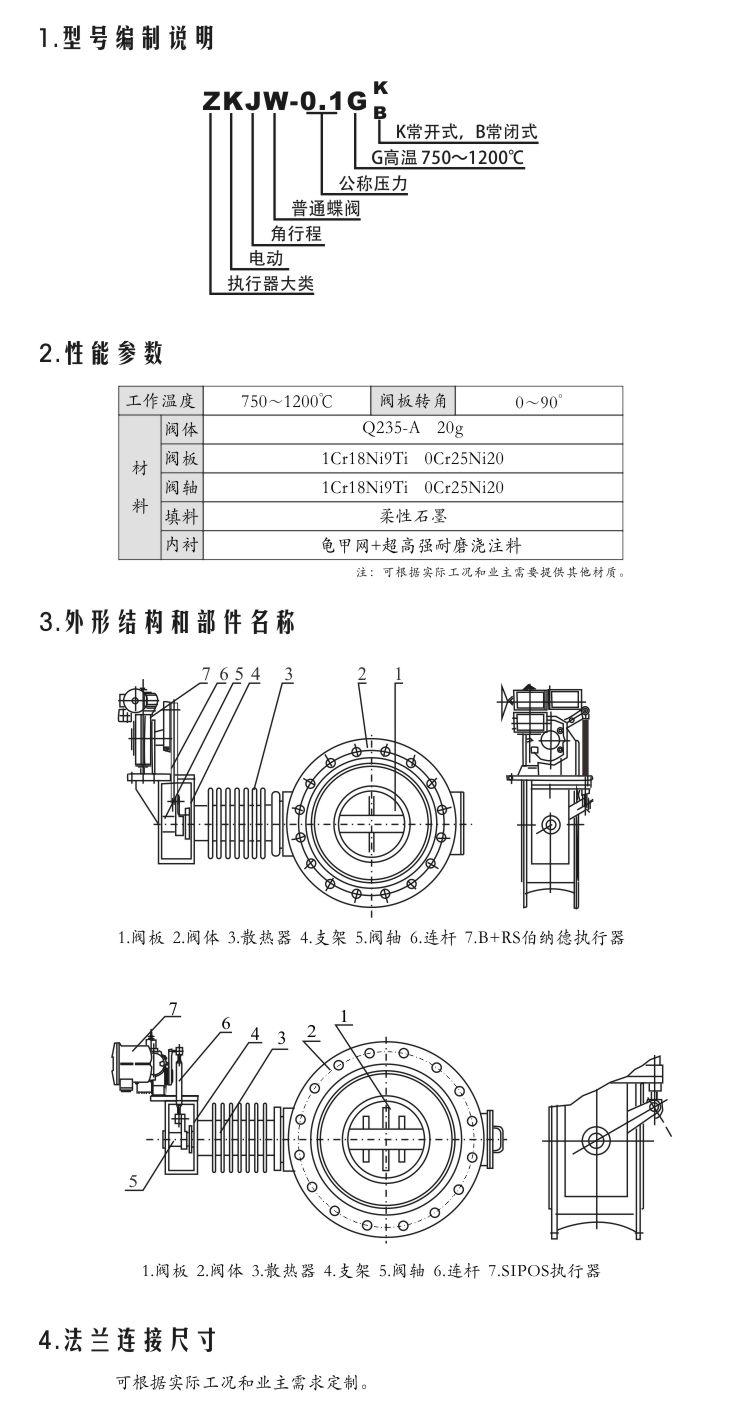 ZKJW-0.1G 电动高温蝶阀型号编制说明,性能参数,外形结构,法兰连接尺寸