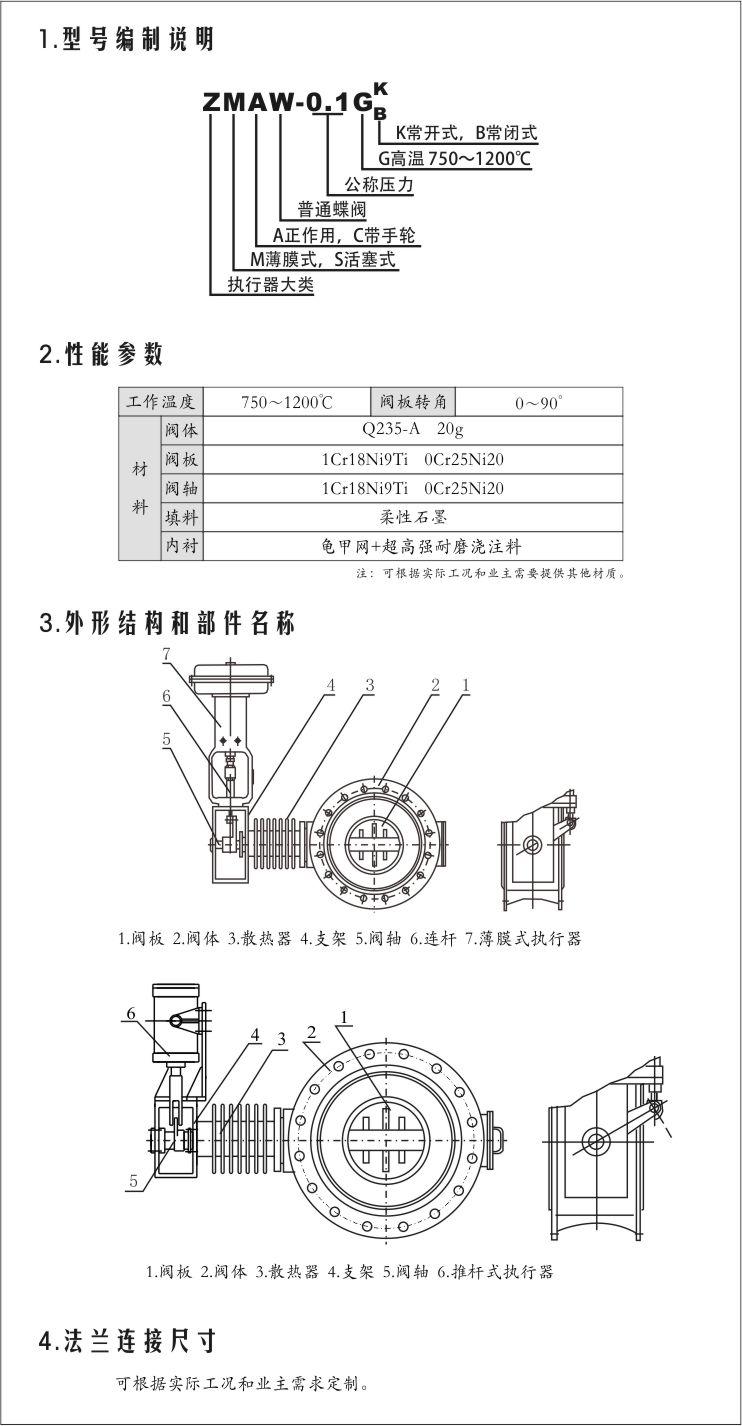 ZMAW-0.1G ZSCW-0.1G 气动高温蝶阀型号编制说明,性能参数,外形结构,法兰连接尺寸